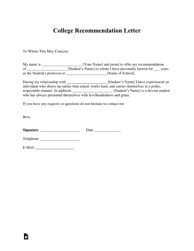 Nc School Counselor Cover Letter Free College Recommendation Letter Template With Samples Pdf