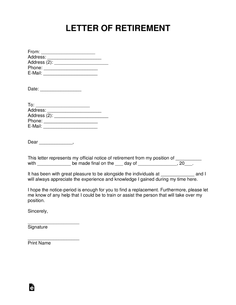Free Retirement Letter Template  with Samples  Word