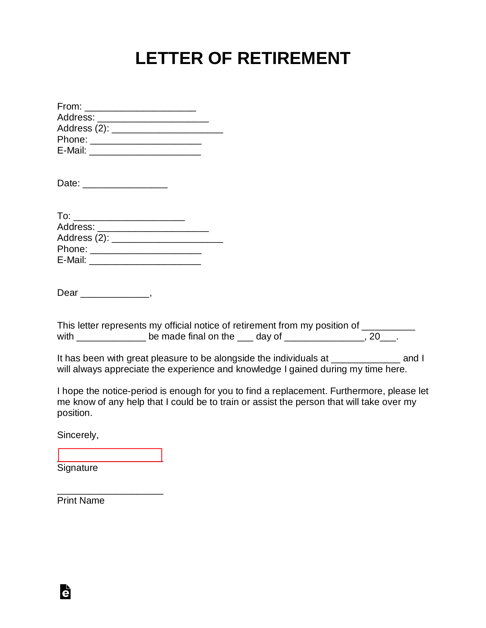 Free Retirement Letter Template - with Samples - Word  PDF – eForms