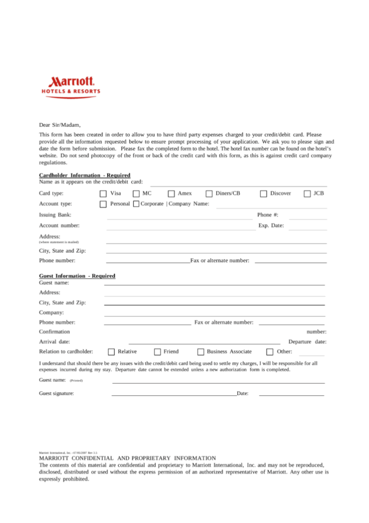 courtyard marriott credit card authorization