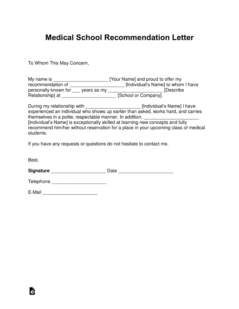 student letter of recommendation