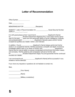 Free Military Letter of Recommendation Templates  Samples and Examples  PDF  Word  eForms