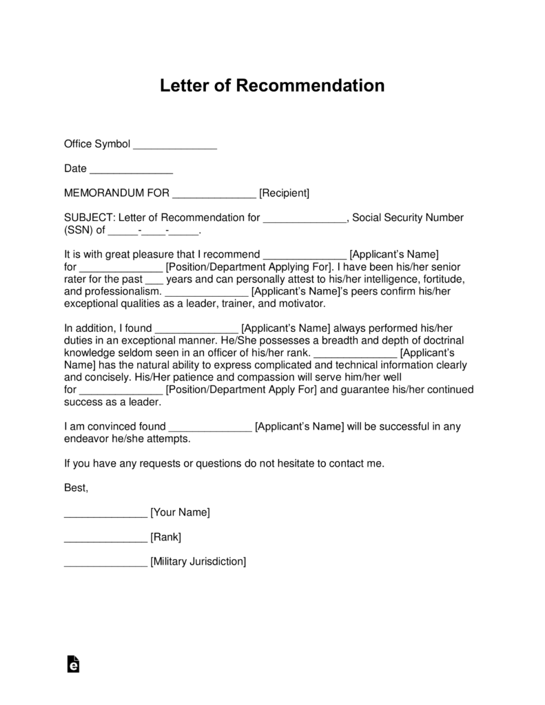 Legal Letter Of Recommendation Free Military Letter Of Recommendation Templates Samples And