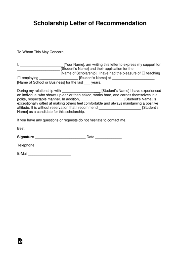 letter of recommendation for a scholarship example
