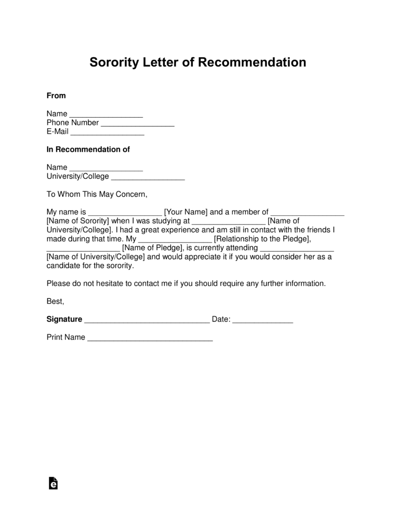 Sorority Resignation Letter Free Sorority Recommendation Letter Template With Samples Pdf
