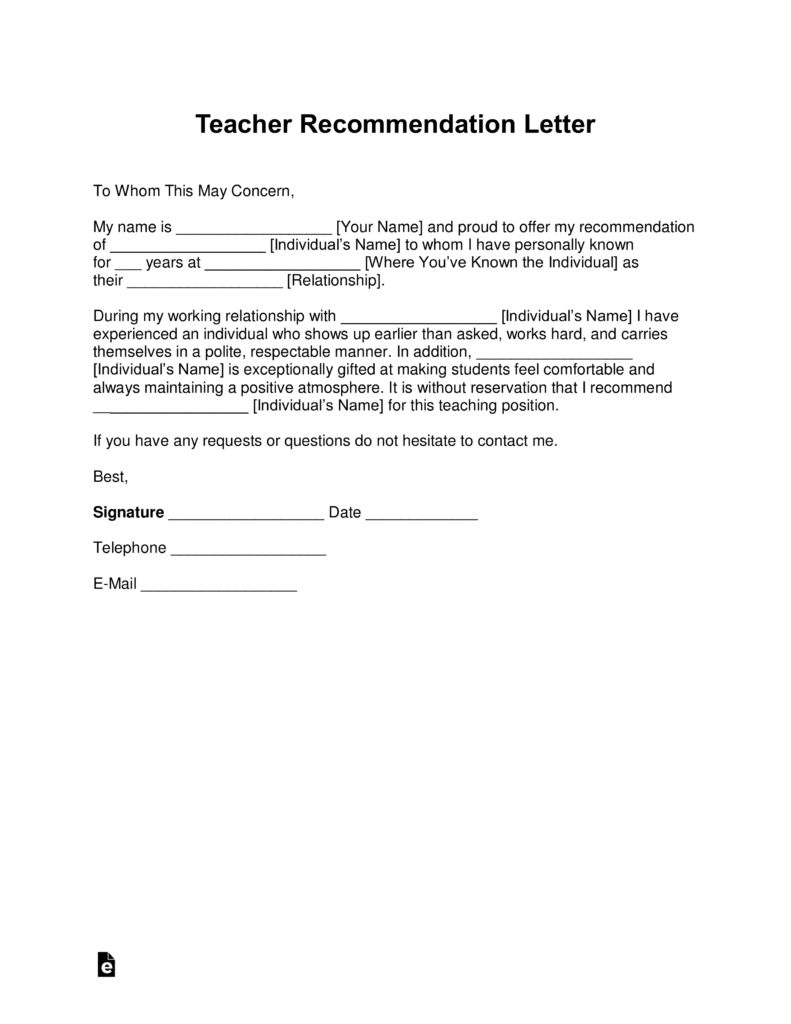 Free Teacher Recommendation Letter Template  with Samples