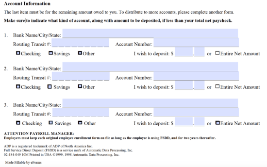 Free ADP Direct Deposit Authorization Form - PDF   eForms – Free ...