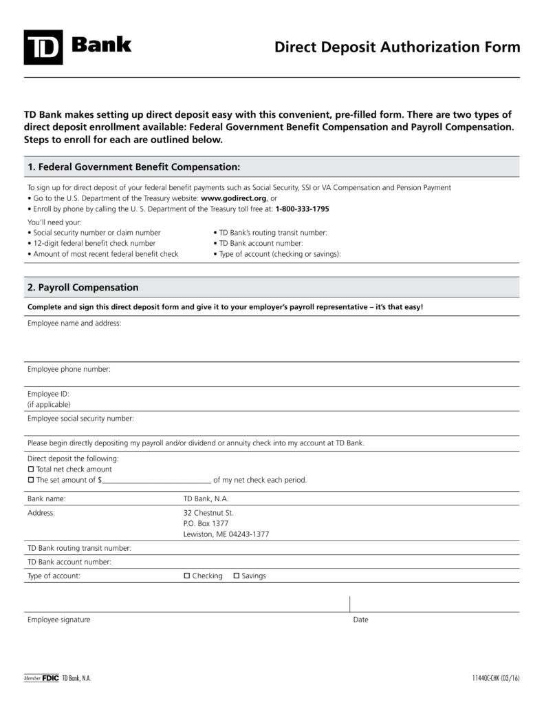 bank form for direct deposit