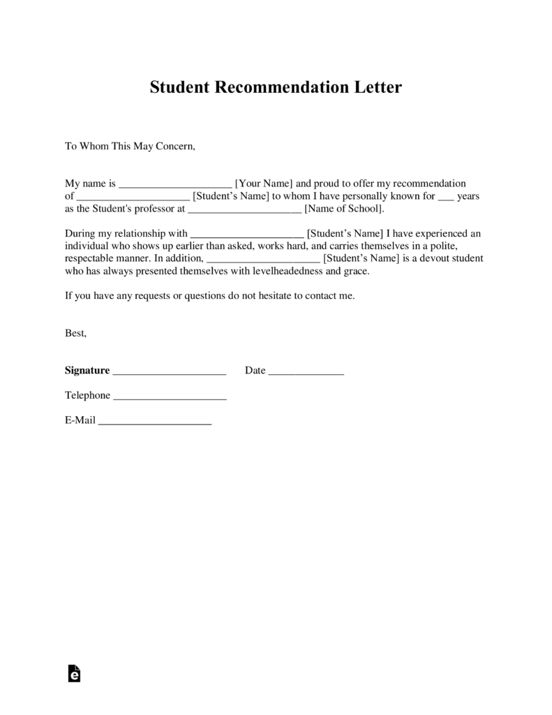 Free Student Recommendation Letter Template  with Samples  PDF  Word  eForms  Free Fillable