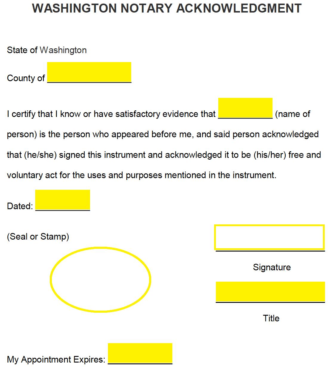 Free Washington Notary Acknowledgment Form