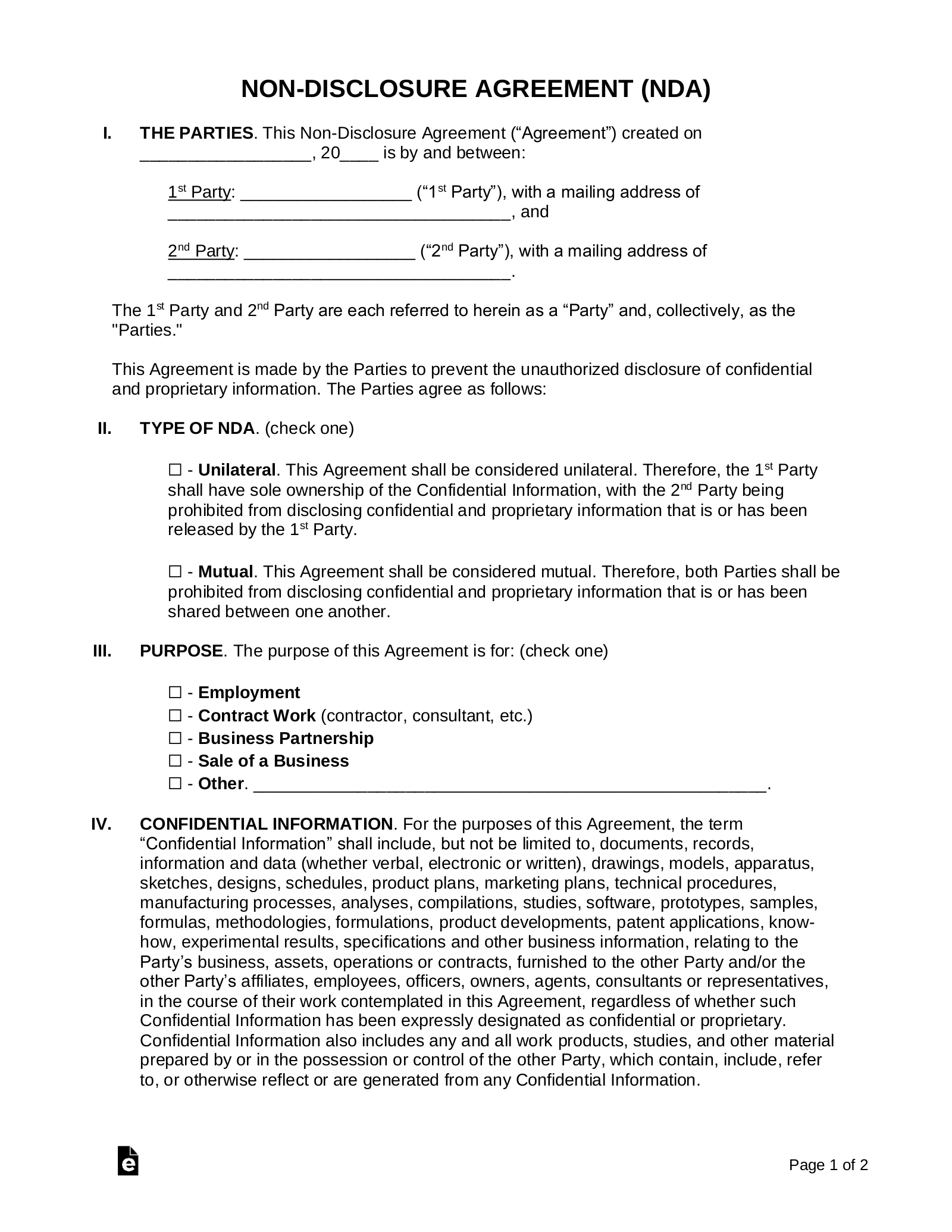 free nda agreement template