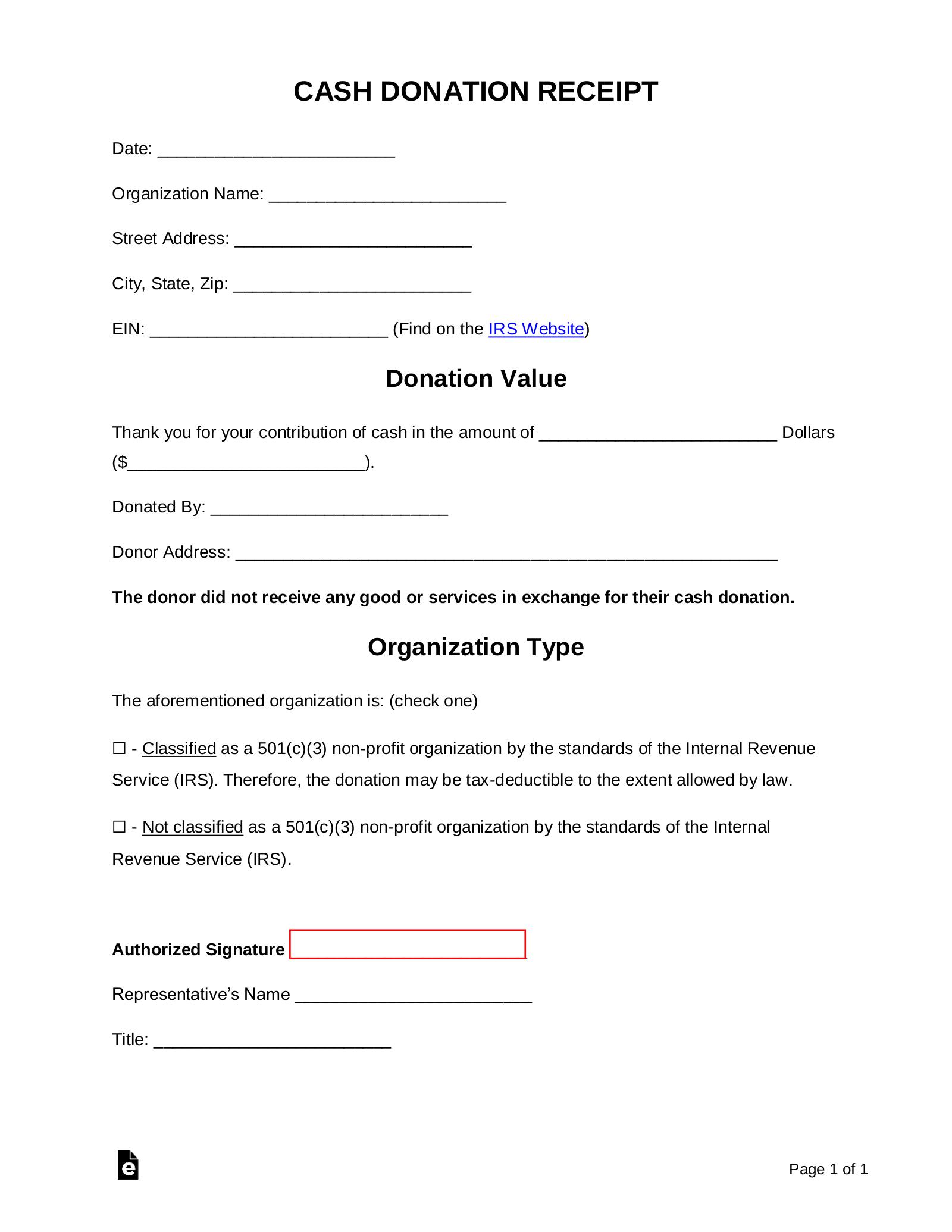 Free Cash Donation Receipt