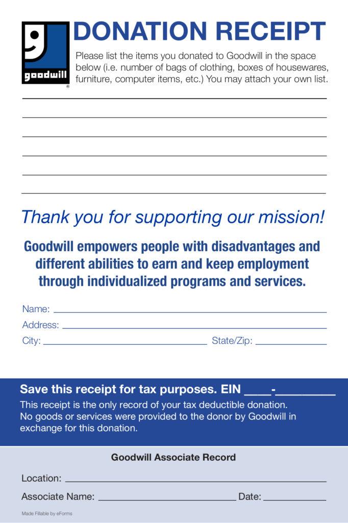 Free Goodwill Donation Receipt Template PDF EForms Free Fillable Forms
