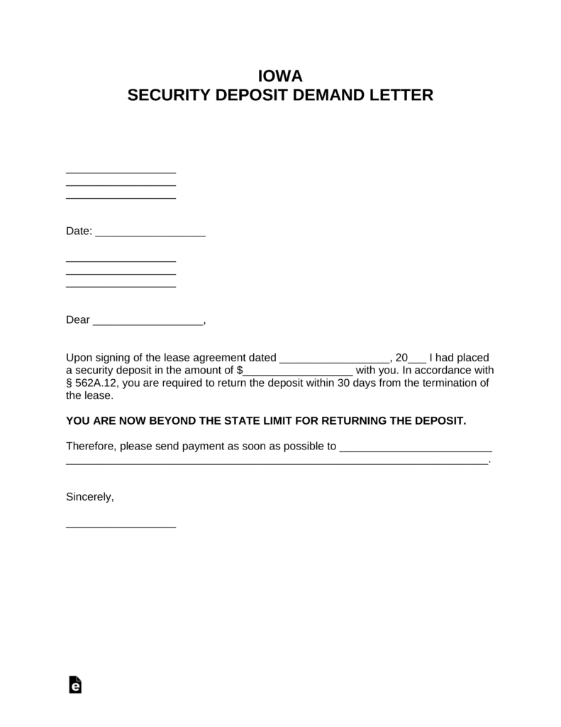 Free Iowa Security Deposit Demand Letter