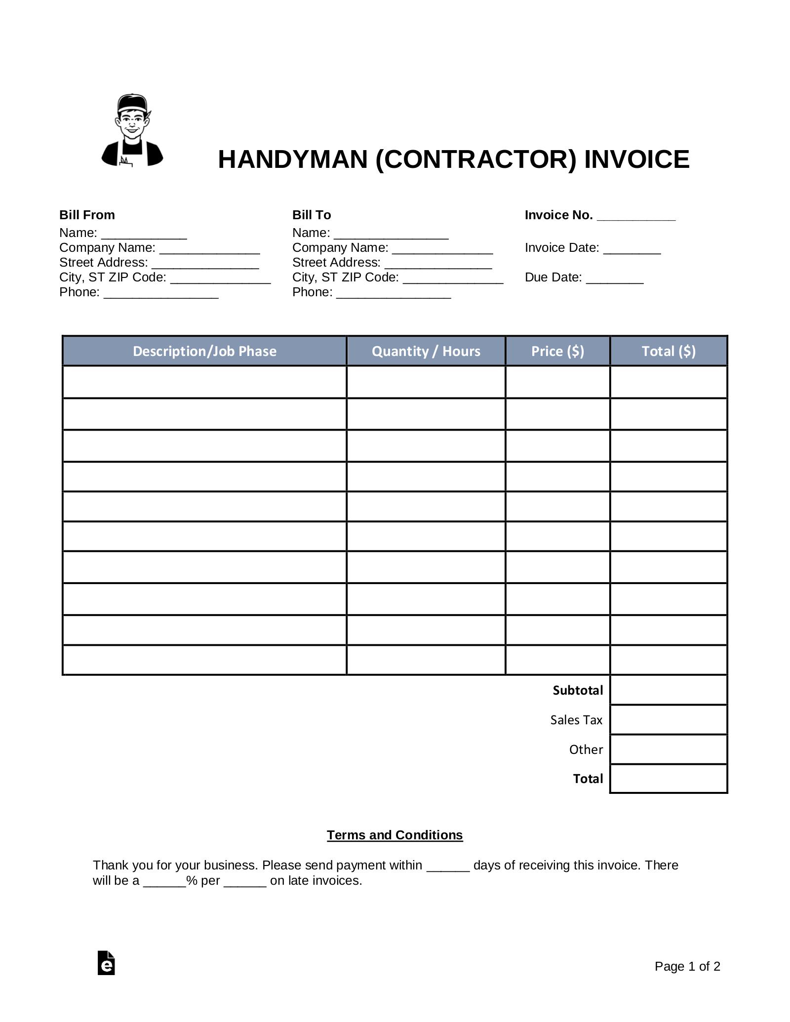 Free Handyman Contractor Invoice Template