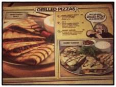 Grilled Pizzas Menu