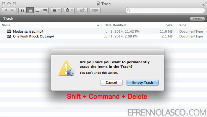 How to delete files on mac step 2