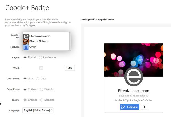 Create-Google-Plus-badge