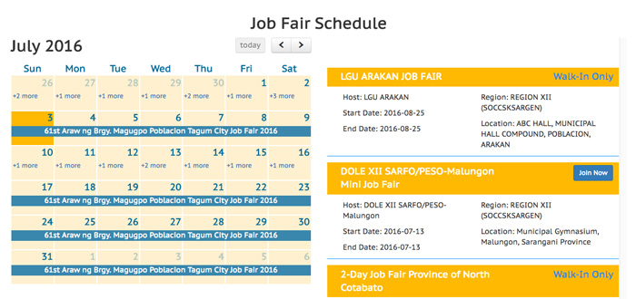 Job fair schedule