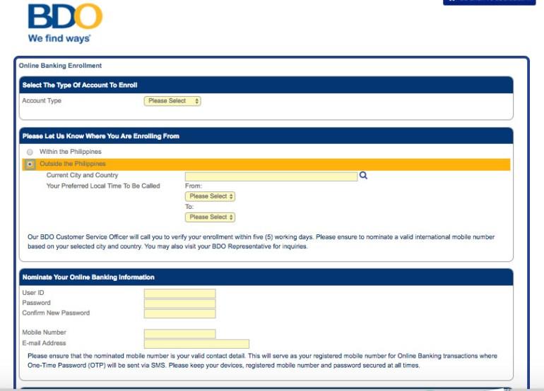 Enroll-BDO-Online-Banking-Abroad-form