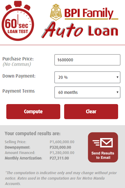 BPI auto Loan calculator