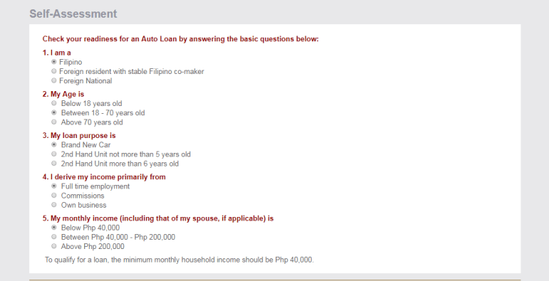 BPI Auto Loan Self Assessment tool