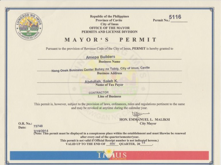 What a Mayor's Permit Looks Like