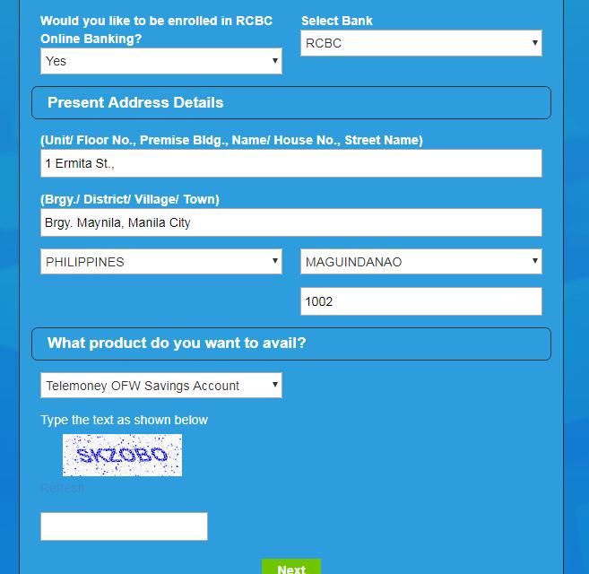 RCBC Telemoney Savings Account