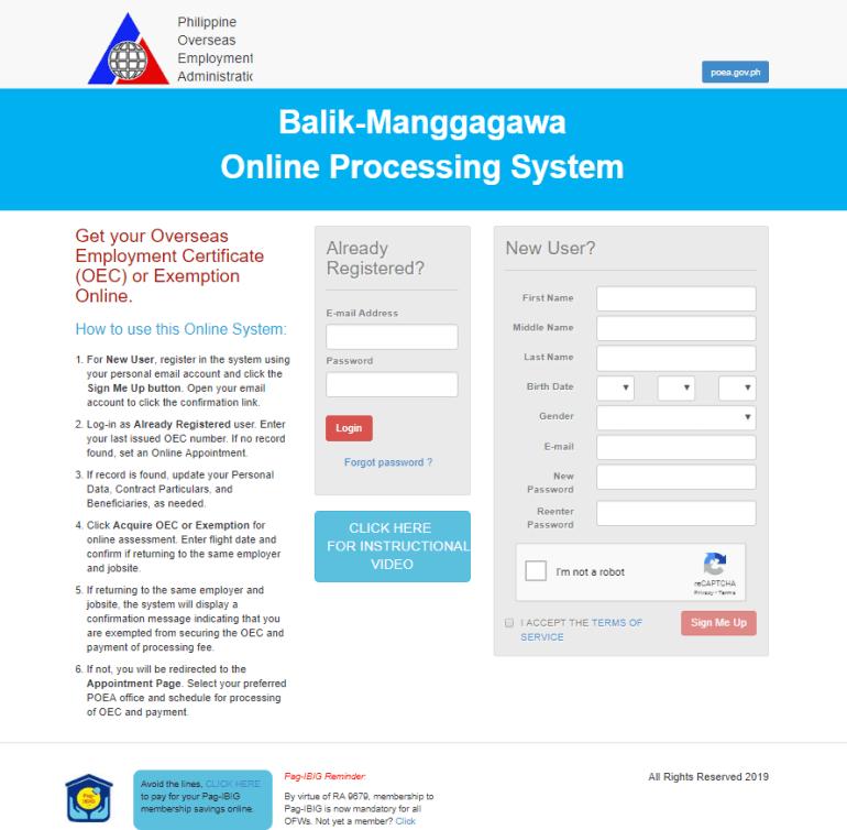 Balik Manggagawa Online Processing System