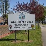 (photo: 'Welcome to Waltham Abbey' sign)