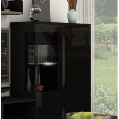 Kitchen Cupboards For Sale Baxton Studio Cart Coastal High Gloss Black Low Disaplay Cabinet - Efurniture Uk