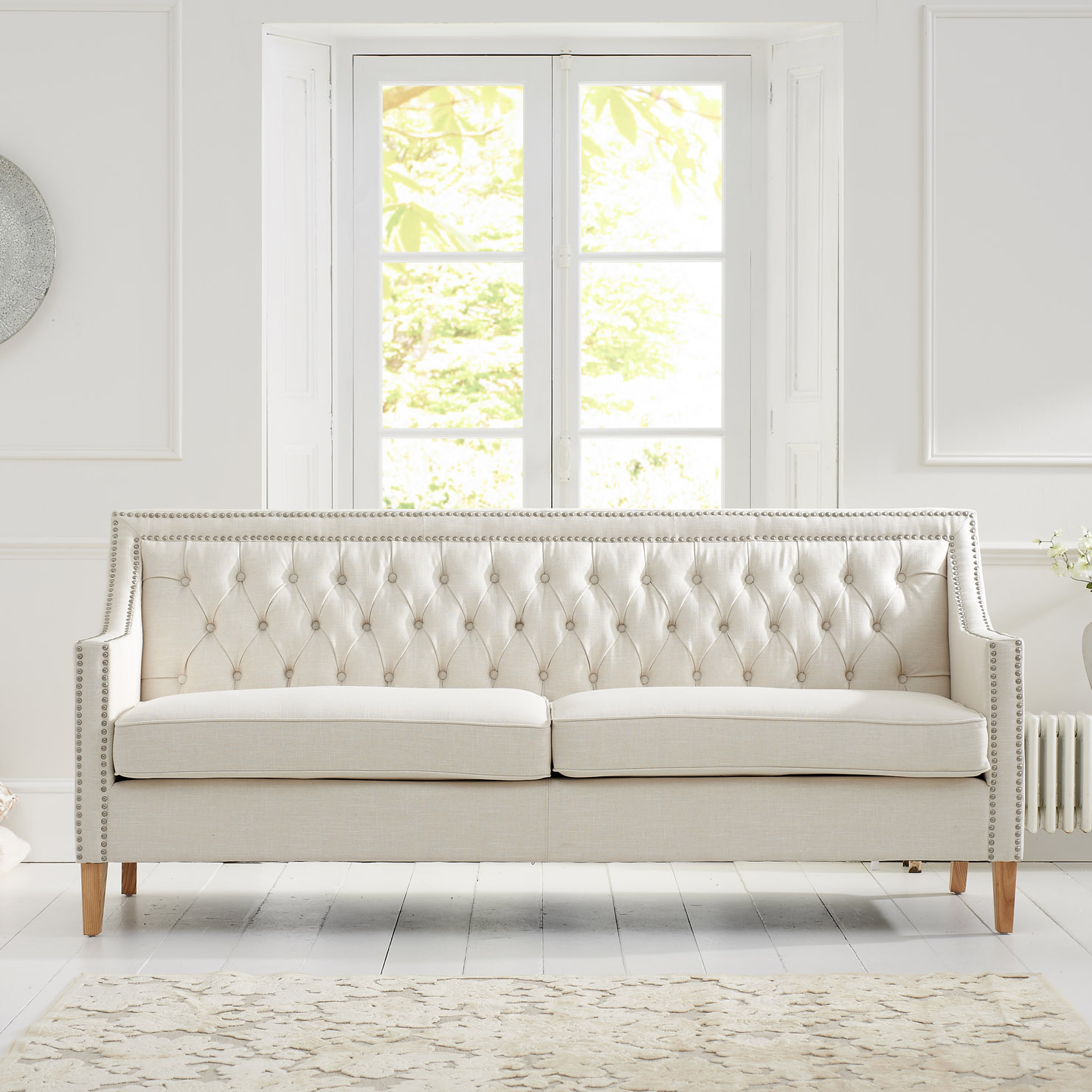 cushions for 3 seater wooden sofa build a houston casa bella ivory fabric best deal online