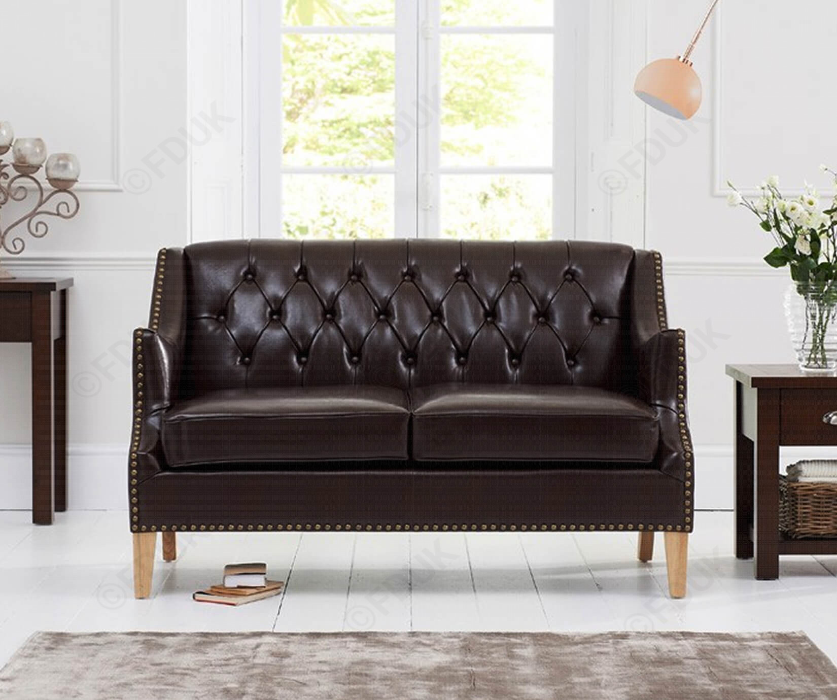 Carmen Brown Leather 2 Seater Sofa with Natural Ash Wood Legs