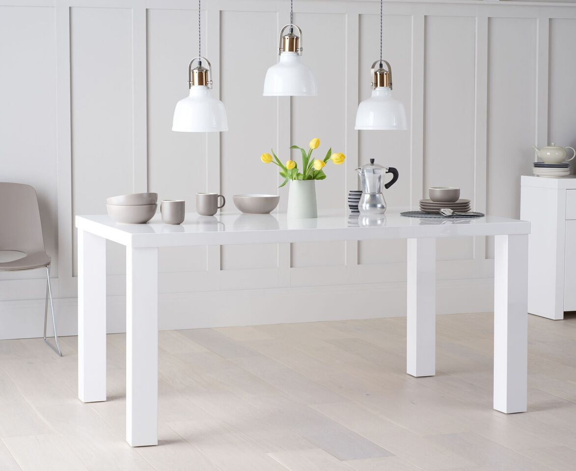 Ava High Gloss 180cm White Dining Table