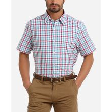Plaid Short Sleeves Shirt - Light CadetBlue