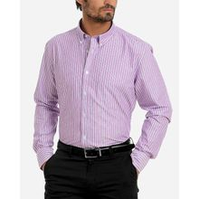 Awning Stripe Pattern Full Sleeves Shirt - Dark Lavender