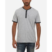 Buttoned Neck Pajamas T-Shirt - Heather Grey