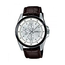 MTP-E306L-7ADF Leather Watch - Silver