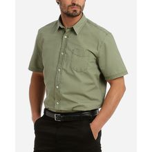 Solid Half Sleeves Shirt - Dark Green