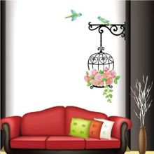 TA Colorful Flower Cartoon Bird Cage Removable Wallpaper For Room PVC Wall Decals-Colorful