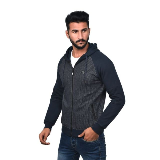 product_image_name-Town Team-Casual Bi Tone Hooded Sweat Shirt - NAVY-2