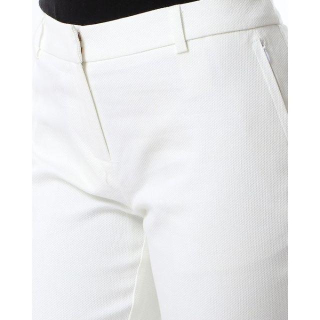 product_image_name-Dalydress-بنطلون كلاسيك منقوش بنفس اللون مع جيوب جانبيه - اوف وايت-4