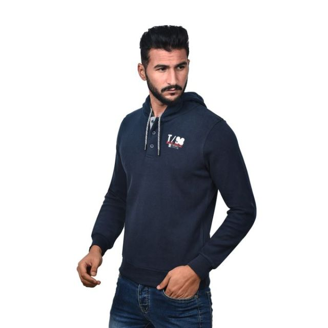 product_image_name-Town Team-Casual Plain Hooded Sweat shirt - BLUE-2