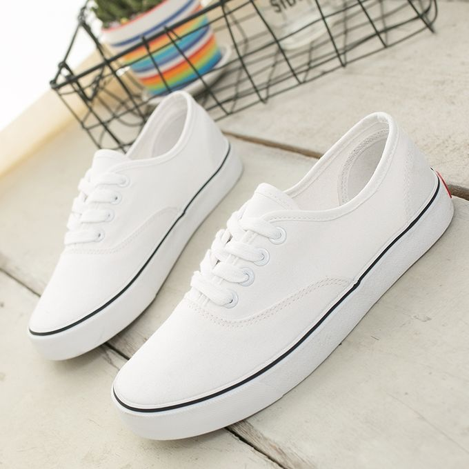 White Canvas Slip On Shoes