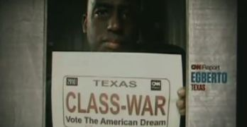 Egberto on CNN Promotional Displaying Class Warfare Poster For Election Night Coverage #p2 #tcot #teaparty