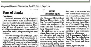 Kingwood Area Democrats In The News (Kingwood Observer 2011-04-13)