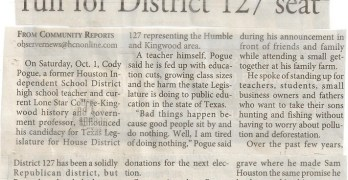 Cody Pogue Run For District 127 Announced In The Kingwood Observer (2011-10-12)