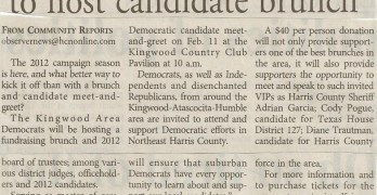 Kingwood Area Democrats To Host Candidate Brunch–Kingwood Observer Article 2012-01-25