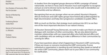 Statement from Houston Stonewall Young Democrats on Attempts to Disrupt Progressive Coalitions