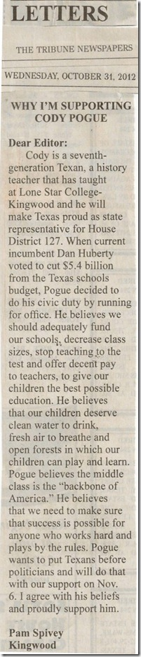 Pam Spivey Letter To Editor In Tribune (2012-10-17)